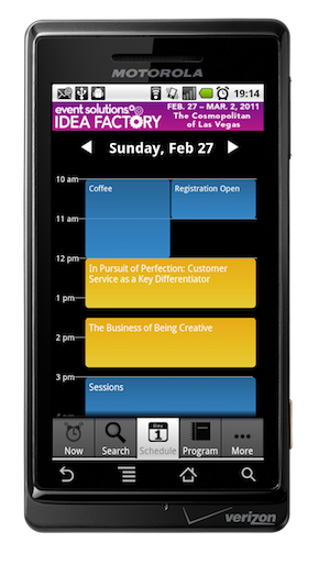 Event Solutions Idea Factory 2011 conference app